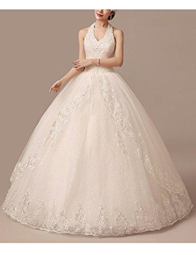 Lactraum HS1043 Brautkleid Hochzeitskleid Strassstein Spitze Perlen Neckholder (Maßanfertigung) - 3
