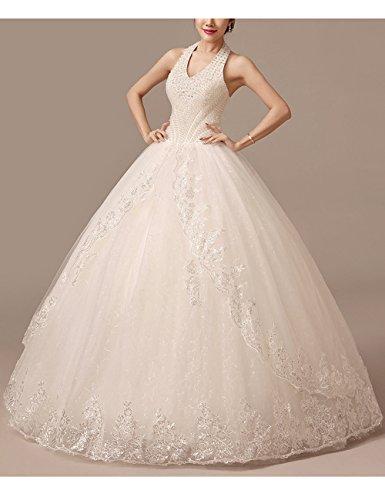 Lactraum HS1043 Brautkleid Hochzeitskleid Strassstein Spitze Perlen Neckholder (Maßanfertigung) - 4