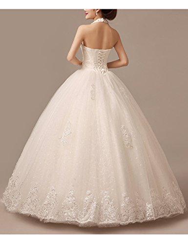 Lactraum HS1043 Brautkleid Hochzeitskleid Strassstein Spitze Perlen Neckholder (Maßanfertigung) - 5