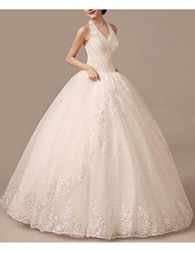 Lactraum HS1043 Brautkleid Hochzeitskleid Strassstein Spitze Perlen Neckholder (Maßanfertigung) - 6