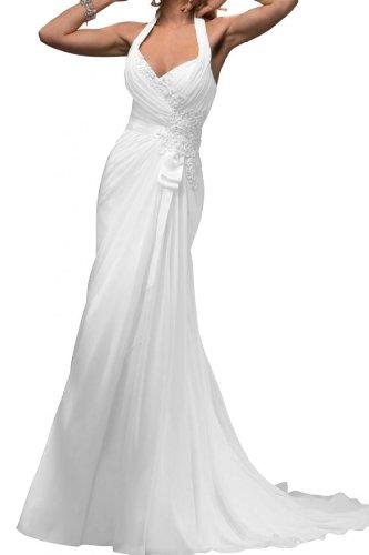 Gorgeous Bride Brautkleid mit Neckholder, Etui-Linie, Weiss