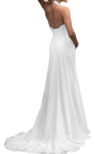 Gorgeous Bride 2013 Neu Neckholder Etui-Linie Chiffon Applikation Lang Brautkleider Hochzeitskleider -46 Weiss - 2