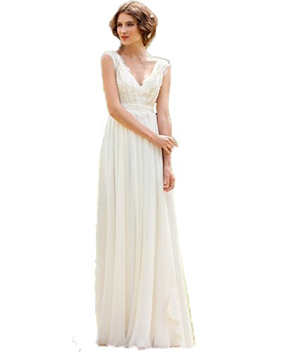 Chiffon Brautkleid mit V-Ausschnitt, Elfenbein