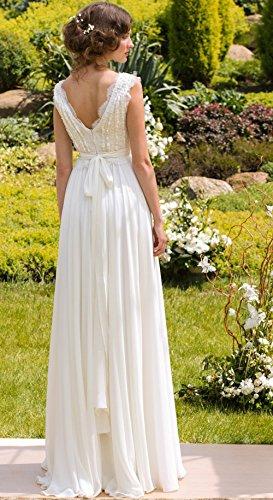 CoCogirls Braut Chiffon V-Ausschnitt Cap Sleeve Kleid Bohemien Strand Hochzeitskleider Brautkleider Abendkleid (36, Elfenbein) - 2