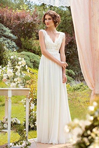 CoCogirls Braut Chiffon V-Ausschnitt Cap Sleeve Kleid Bohemien Strand Hochzeitskleider Brautkleider Abendkleid (36, Elfenbein) - 3
