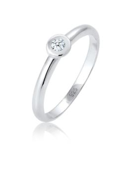 Diamore Ring Solitär Verlobung Diamant (0.06 ct.) 925 Silber Diamore Silber