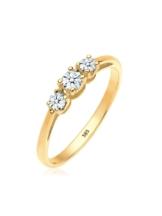 Diamore Ring Verlobungsring Trio Diamant 0.22 ct. 585 Gelbgold Diamore Weiß