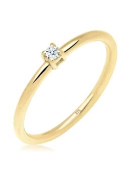 Elli Premium Ring Verlobungsring Diamant 0.03 ct. 375 Gelbgold Elli Premium Weiß