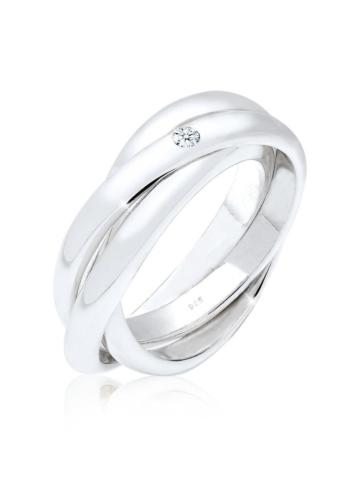 Elli Premium Ring Verlobungsring Diamant 0.03 ct. 925 Silber Elli Premium Weiß