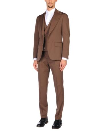 GABRIELE PASINI Herren Anzug Farbe Dunkelbraun Größe 3